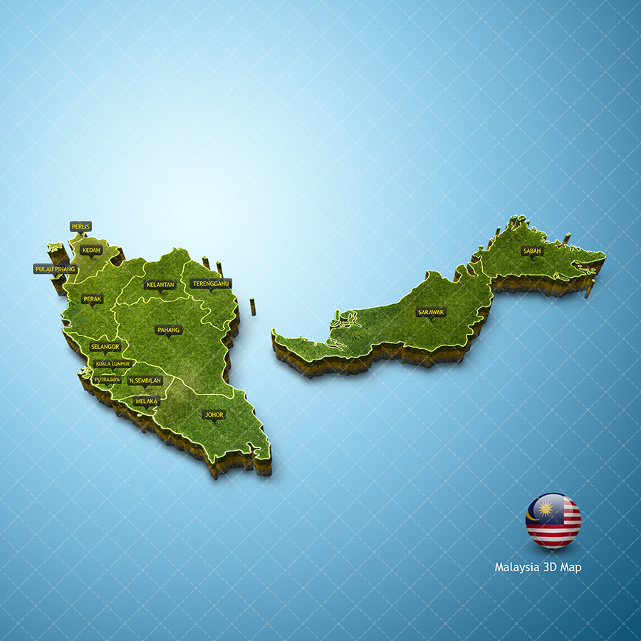 Malaysia Map Vector 3d Pack Zestladesign V3