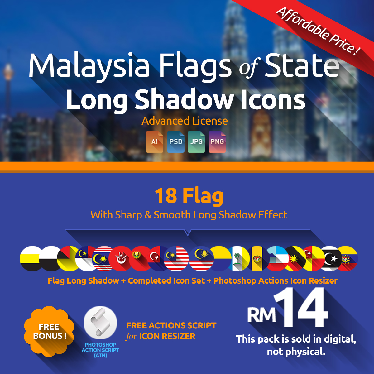 Malaysia Flags Long Shadow Icons - Zestladesign V3